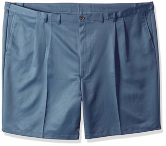 Haggar Men's Big and Tall Big & Tall Cool 18 Gabardine Pleat Front Short