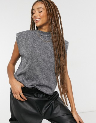 Only tank with padded shoulders and high neck in sparkle gray