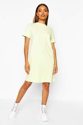 boohoo Je'Taime Washed Oversized T-Shirt Dress