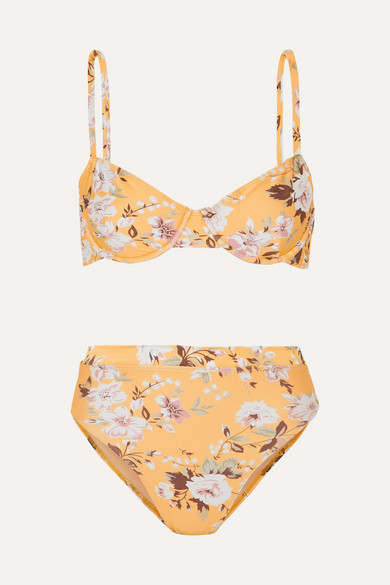 Faithfull The Brand Lolita Floral-print Underwired Bikini - Yellow