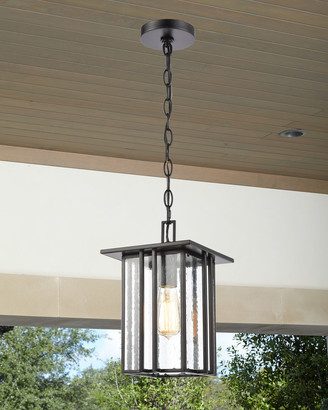 Radnor 1-Light Outdoor Lighting Pendant in Matte Black with Seedy Glass