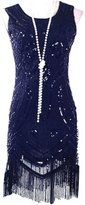 Vikoros Women's 1920's Vintage Gatsby Bead Sequin Art Nouveau Deco Flapper Dress