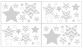 JoJo Designs Sweet Chevron Zig Zag Wall Decal Stickers- Gray-White
