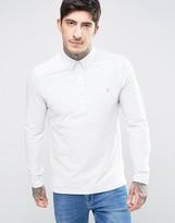 Farah Slim Pique Long Sleeve Polo Buttondown in Beige