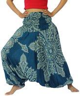 NaLuck Women's Boho Hippie Tiedye Elephant print hobo baggy Jumpsuit Smocked Waist Yoga Harem Pants PH17-Turquoise