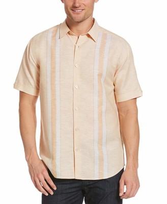 Cubavera Linen-Blend Yarn-Dyed Striped Panel Shirt