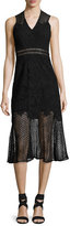 Jonathan Simkhai Multimedia Lace Trumpet Midi Dress, Black