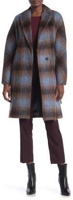 Vince Plaid Print Belt Wool Blend Coat
