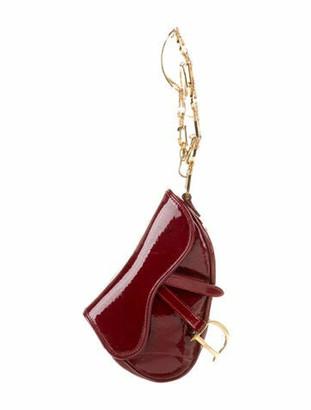 Christian Dior Embossed Mini Saddle Wristlet Red