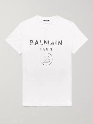 Balmain Slim-Fit Metallic Logo-Print Cotton-Jersey T-Shirt