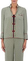 Maison Mayle Women's Floral-Jacquard Silk Pajama Top-GREEN