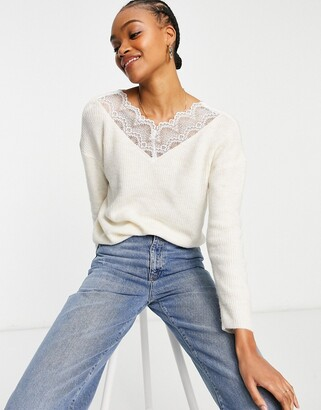 Vila lace detail jumper in cream