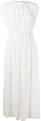 Jil Sander Floral Embroidery Pleated Dress
