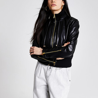 River Island Black faux leather cropped bomber jacket