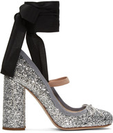 Miu Miu Silver Glitter Ballerina Heels