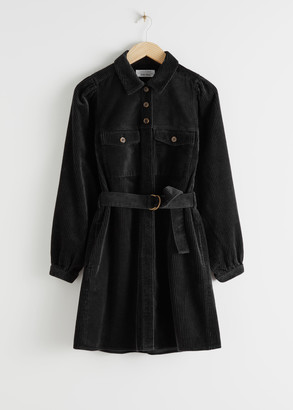 And other stories Belted Corduroy Mini Dress