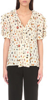 Alexander McQueen Obsession-print silk-crepe top