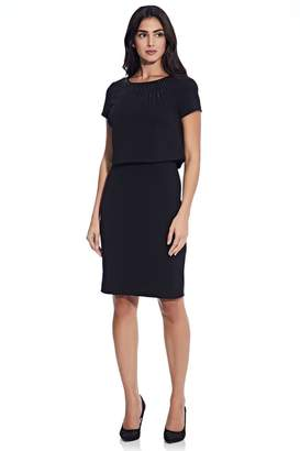 Adrianna Papell Womens Black Embellished Pop Over Sheath Dress - Black