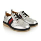 Gucci GUCCIMetallic Silver Leather Brogue Shoes