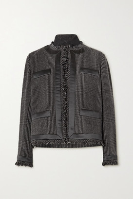 Sacai Fringed Satin-trimmed Prince Of Wales Checked Wool-blend And Quilted Shell Jacket - Gray