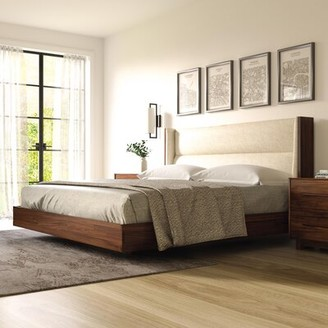 Copeland Furniture Sloane Floating Upholstered Platform Bed Leg Finish: Sand Ash, Size: California King, Headboard Color: Microsuede Dark Brown