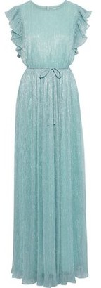 ZAC Zac Posen Samantha Ruffled-trimmed Metallic Plisse Stretch-knit Gown