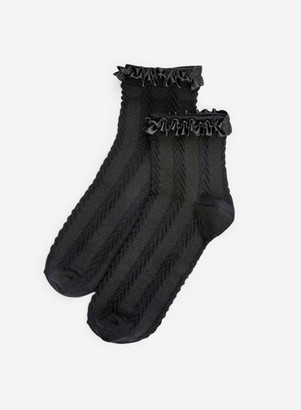 Dorothy Perkins Womens Black Satin Frill Socks, Black
