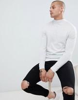 Asos Design DESIGN muscle fit turtleneck sweater in light gray marl