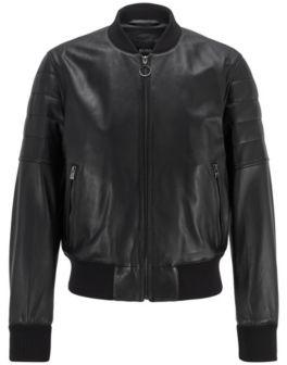 HUGO BOSS Bomber Jacket In Nappa Leather - Black