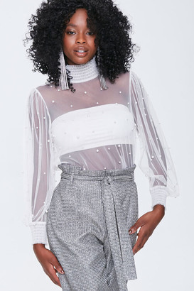 Forever 21 Sheer Faux Pearl Top