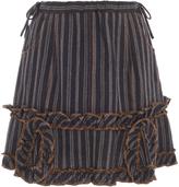 Anna Sui Jacquard And Stripe Denim Twill Skirt
