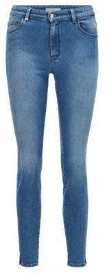 HUGO BOSS Skinny Fit Jeans In Stretch Denim With Zipped Hems - Blue