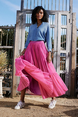 Angelina Tulle Maxi Skirt By Geisha Designs in Pink Size XS