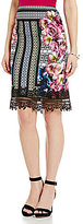 Antonio Melani Jeni Printed Crepe Lace Trim Pencil Skirt