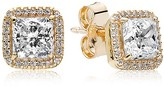 Pandora Stud Earrings - 14K Gold & Cubic Zirconia Timeless Elegance