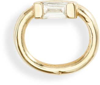 Jennie Kwon Designs Baguette Diamond Teeny Doorknocker Stud Earring