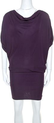 Gucci Purple Knit Shoulder Zip Detail Batwing Sleeve Dress XS