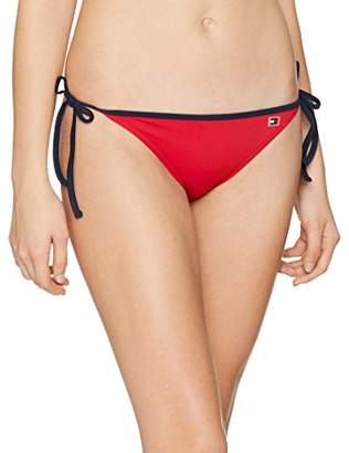 Tommy Hilfiger Women's Cheeky String Side Tie Bikini Bottoms, (Tango Red 611), 14 (Size: Large)