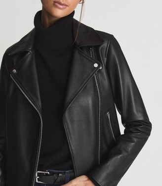 Reiss Geo - Leather Biker Jacket in Black