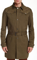 The Kooples Gabardine Goat Leather Trim Trench Coat