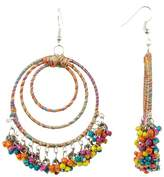 Cara Accessories Wrapped & Beaded Multi Hoop Earrings