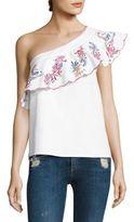 Saloni Esme Embroidered One-Shoulder Top