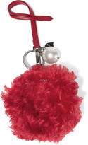 Miu Miu Faux Pearl-embellished Shearling And Leather Keychain - Red