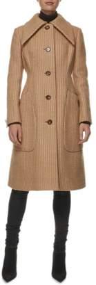 Geoffrey Beene Tan Striped Wool Coat