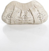 Nancy Gonzalez Beige Genuine Crocodile Pleated Small Clutch New