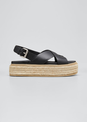 Prada Crisscross Leather Espadrille Flatform Sandals