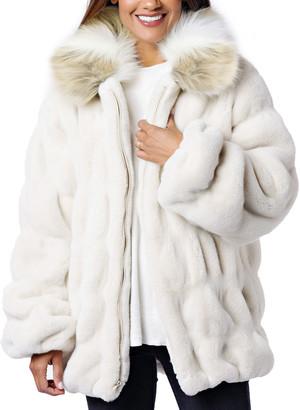 Fabulous Furs Couture Faux Fur Coat w/ Collar