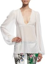 Just Cavalli Long-Sleeve Zigzag Top, Off White