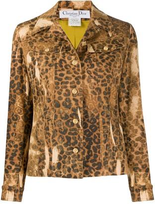 Christian Dior 2000 Pre-Owned Leopard Print Denim Jacket
