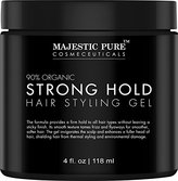 Natural Strong Hold Hair Styling Gel from Majestic Pure for Men & Woman with Organic Aloe Vera & Witch Hazel, 4 fl oz